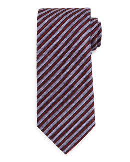 Textured Satin-Stripe Tie, Burgundy