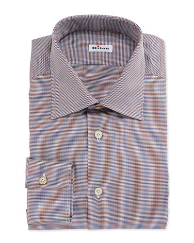 Micro-Houndstooth Woven Dress Shirt, Brown