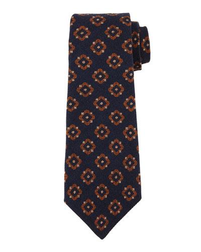 Textured Medallion-Print Silk Tie, Navy/Brown