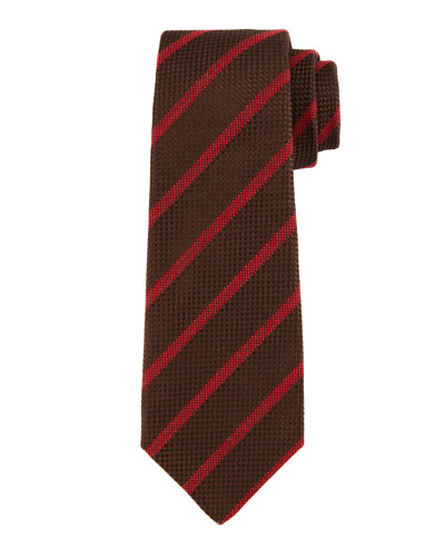 Textured Diagonal-Stripe Tie, Brown/Red