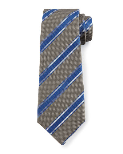 Textured Diagonal-Stripe Tie, Gray/Blue