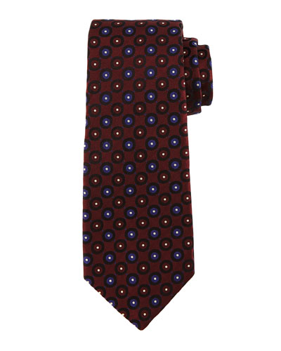 Circle-on-Circle Silk Tie, Burgundy/Blue
