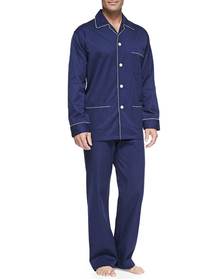 Derek Rose Satin-Stripe Dot-Print Pajamas