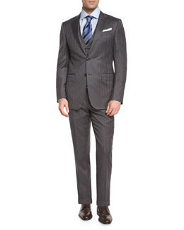 Herringbone Three-Piece Wool Suit, Gray