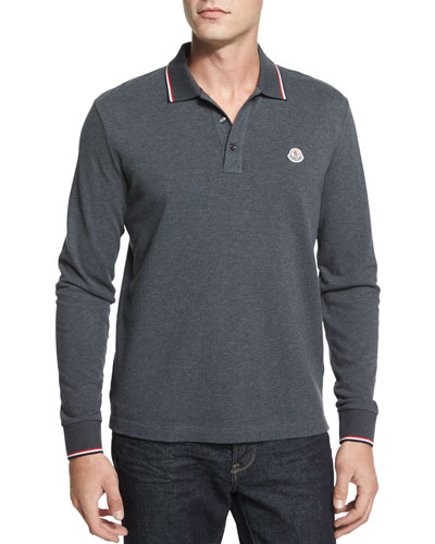 Tipped Long-Sleeve Polo Shirt, Gray