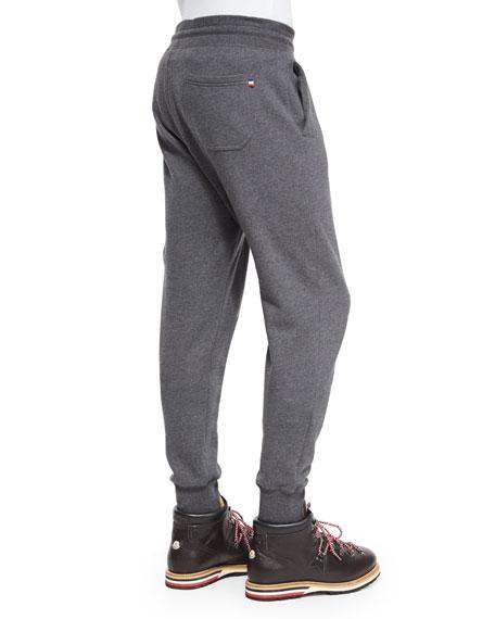 Drawstring Knit Jogger Pants, Gray