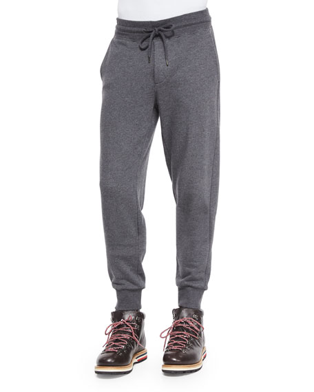 Drawstring Knit Jogger Pants, Gray