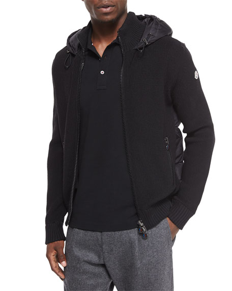 Quilted-Back Knit Jacket, Black