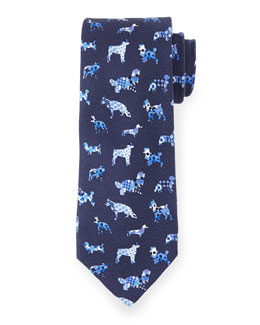 Silk Dog-Print Tie, Blue Multi