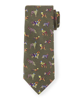Silk Dog-Print Tie, Green Multi