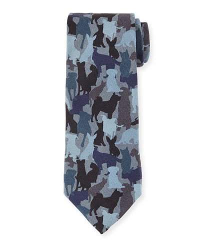 Silk Dog Camo-Print Tie, Blue Multi