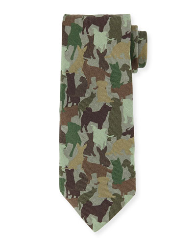 Silk Dog Camo-Print Tie, Green Multi