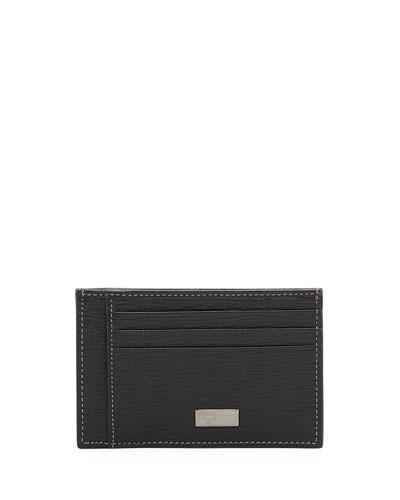 Revival Flat Leather Card Case, Black