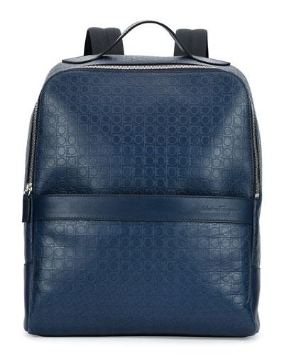 Gamma Gancini-Embossed Backpack, Blue