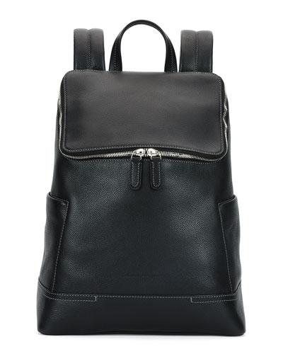 Baires Pebbled Leather Backpack, Black