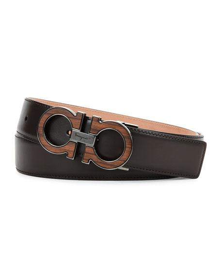 Rosewood Double-Gancini Belt, Brown