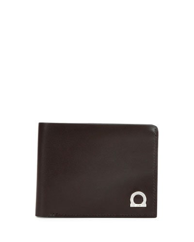 Gancini Leather Bifold Wallet, Brown