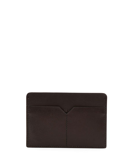 Gancio One Leather Card Case, Brown