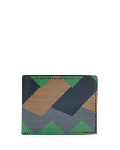 Greca Colorblock Leather Bifold Wallet, Green/Navy/Taupe