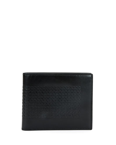 Mini Gancini-Embossed Leather Bifold Wallet, Bluink