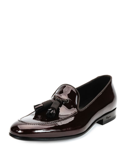 Luxury Patent Leather Tassel Loafer, Brown