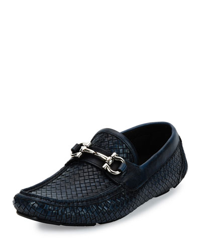 Parigi 6 Braided Calfskin Gancini Driver, Antiqued Navy