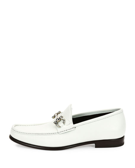 Leather Gancini Bit Loafer, White