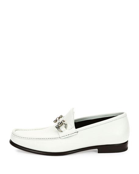 Leather Gancini Bit Loafer, White