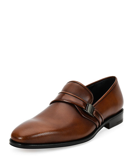 Textured Leather Loafer with Side Vara, Light Brown