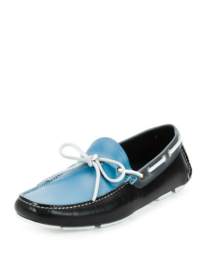 Losanna Tricolor Calfskin Boat Shoe Driver, Light Blue/Black/White