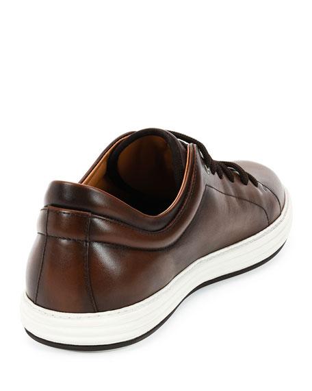 Burnished Calfskin Low-Top Sneaker, Brown