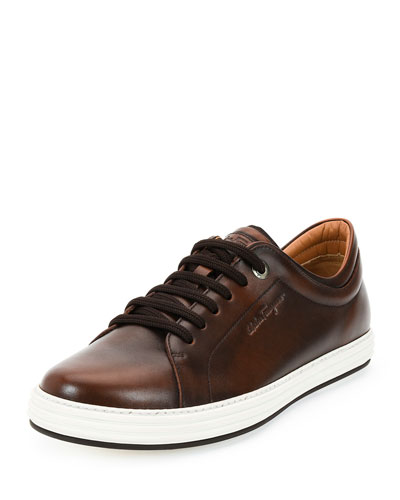 Newport Burnished Calfskin Low-Top Sneaker, Brown