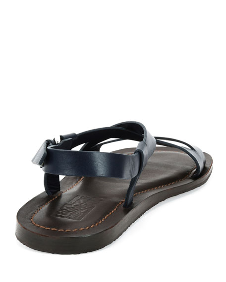 Men's Crisscross-Strap Calfskin Sandals