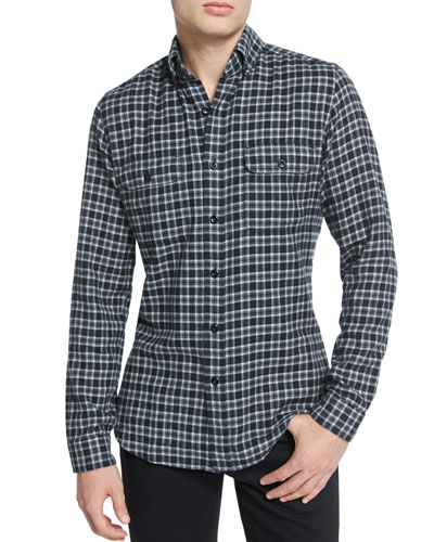 Mini-Plaid Tailored-Fit Sport Shirt, Black/Gray