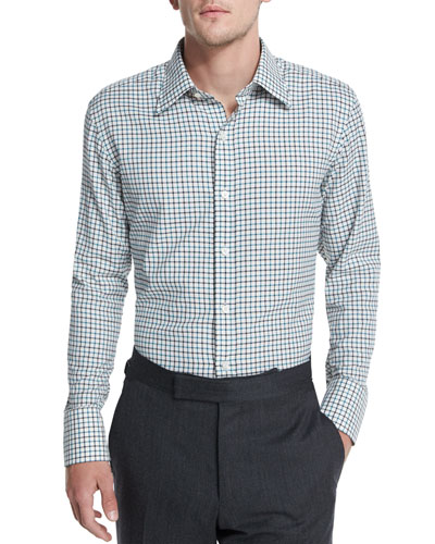 Tattersall Sport Shirt, Black/Teal/White