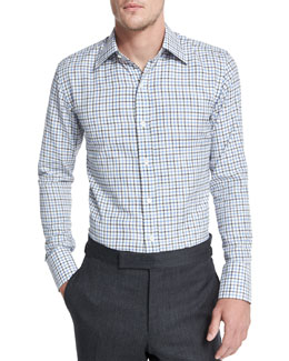 Tattersall Button-Down Shirt, White/Blue