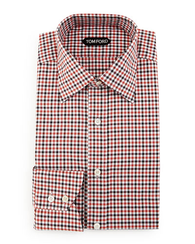 Gingham Dress Shirt, Black/Red