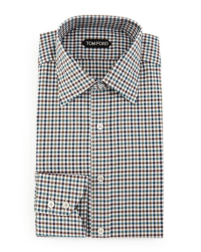 Gingham Sport Shirt, Teal/Olive