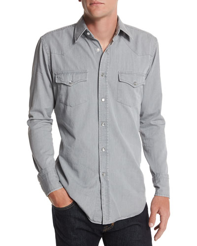 Western-Style Denim Shirt, Light Gray