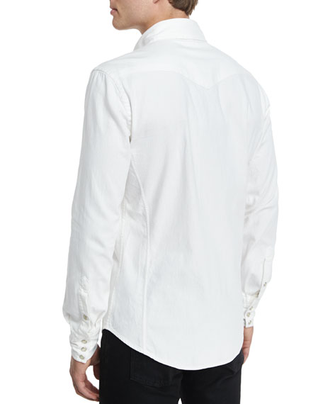 Western-Style Denim Shirt, White