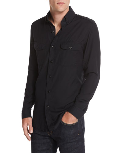 Washed Cotton-Cashmere Sport Shirt, Black