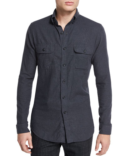 Brushed Twill Tailored-Fit Sport Shirt, Charcoal