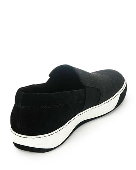 Men's Leather Slip-On Sneaker, Black