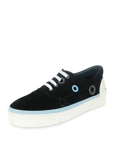 Suede Platform Sneaker with Hole Details, Black