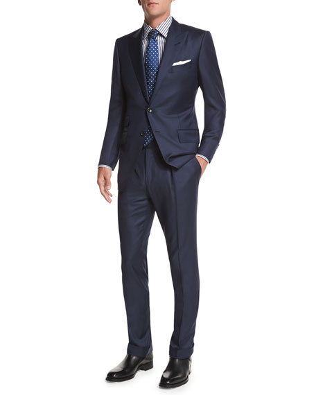 Tom Ford O Connor Base Sharkskin Two Piece Suit Navy