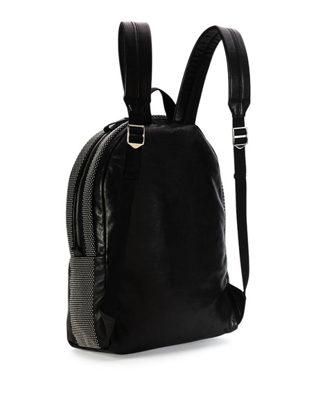 Men's Studded Leather Backpack, Black