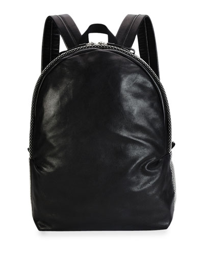 Men's Studded Leather Backpack, Black