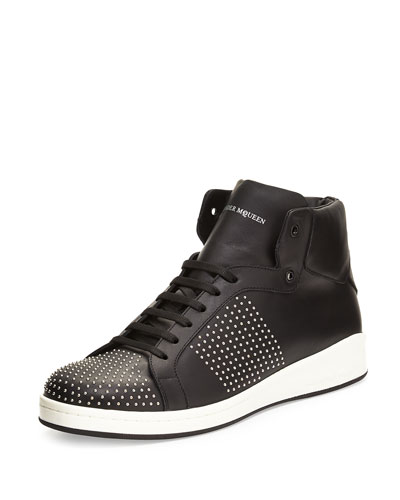 Studded High-Top Leather Sneaker, Black