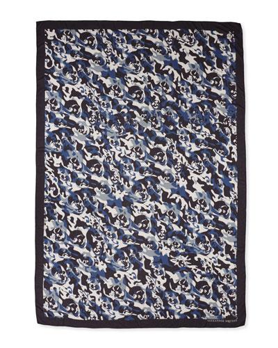 Men's Camo Skull Scarf, Blue/White