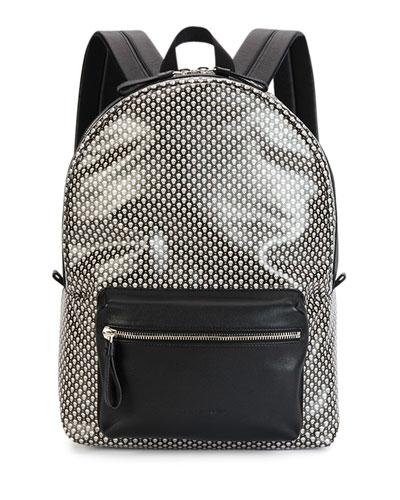 Mini-Skull Printed Backpack, Black